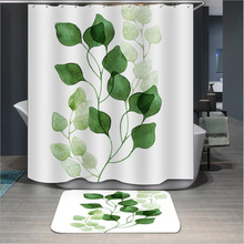купить Exquisite Leaves Pattern Shower Curtain Waterproof Bathroom Partition Curtain Polyester Moisture-proof Shower Curtain онлайн