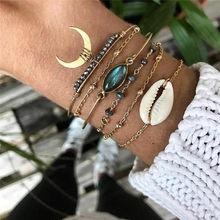 WUKALO Bohemian White Moon Shell Bracelets & Bangles Hip Hop Gold Chain Bracelet Sets For Women 2021 New Stone Jewelry