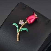 Hello Miss Fashion trend personality brooch wild drop oil tulip flower rose pin popular female jewelry gift