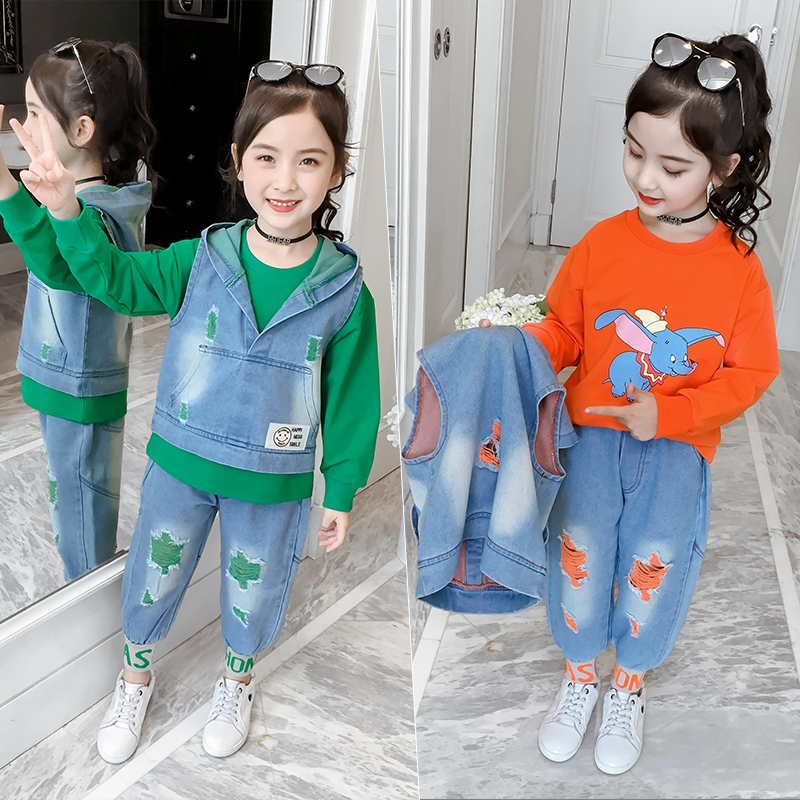 Autumn 3PCS Toddler Baby Girls Solid Tops Print Jeans+Slim Fit Pants Outfits Set