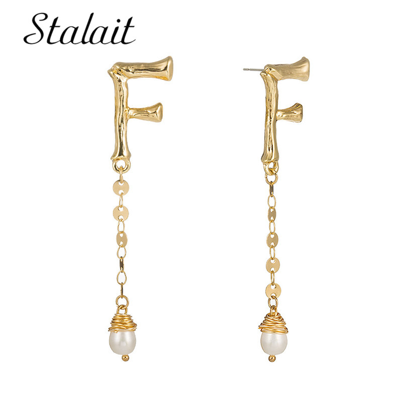 Golden Zinc Alloy Exaggerated Imitation Pearl Metal Drop Dangle Punk Trendy Charm Large Earrings boucles