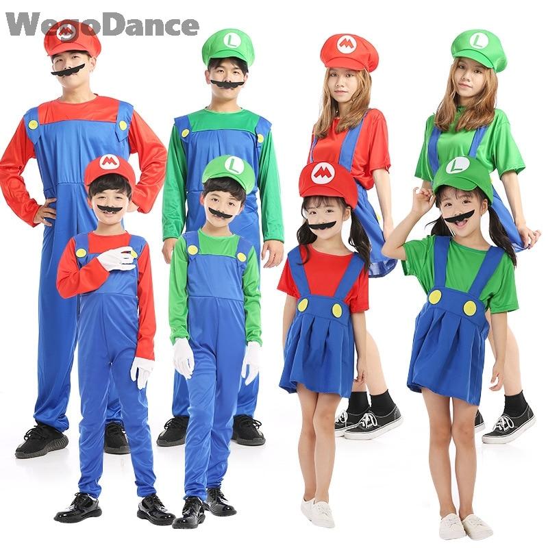 New Halloween Costumes Funny Super Mario Luigi Brother Costume Kids Children Boys Girls Fantasia Cosplay Jumpsuit