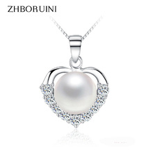 2016 Fashion Pearl Necklace Jewelry Natural Freshwater Love Heart Pendant 925 Sterling Silver For Women Gift
