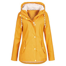 Wanita Tahan Angin Mantel Fashion Wanita Solid Hujan Outdoor Pakaian Plus Ukuran Tahan Air Hooded Longgar Jas Hujan Mantel Lebih Tahan Dr(China)