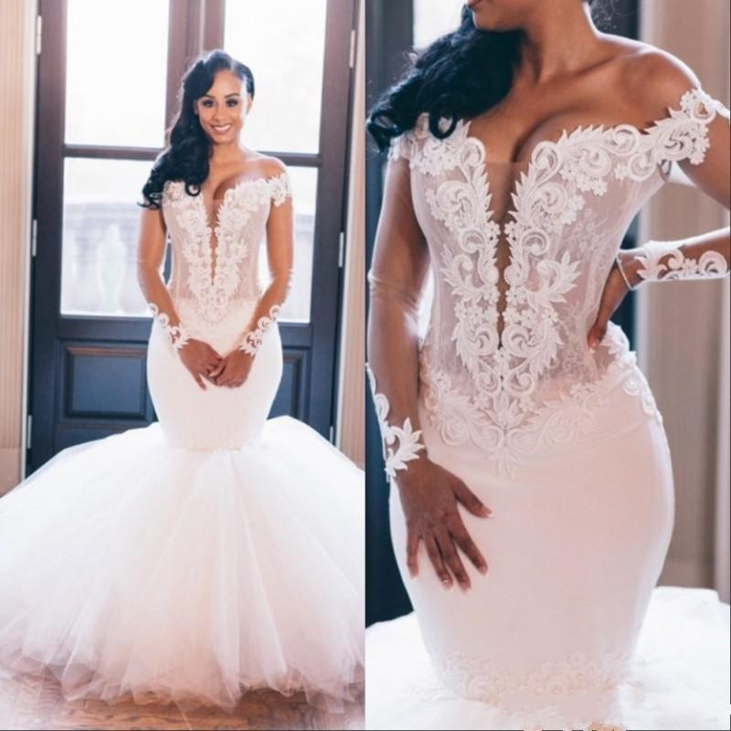 New Arrival African Mermaid Wedding Dress 2020 Vestido De Noiva Long Sleeve Wedding Gowns Sexy V Neck Handmade Bridal Dresses
