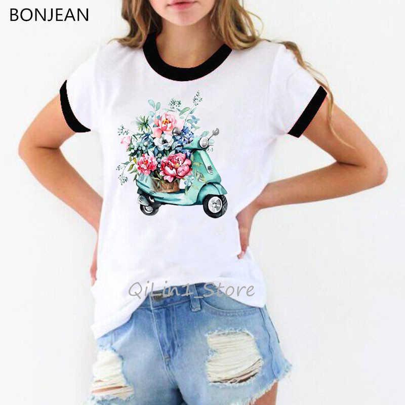 Mode paris stil dame sitzt auf roller druck t-shirt frauen aquarell vintage t shirt femme sommer top weibliche tumblr kleidung
