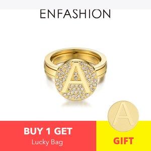 Image 2 - Enfashion מכתב ראשוני בורג טבעת עבור נשים נירוסטה זהב צבע מתכוונן Knuckle מכתב טבעות תכשיטים 188007