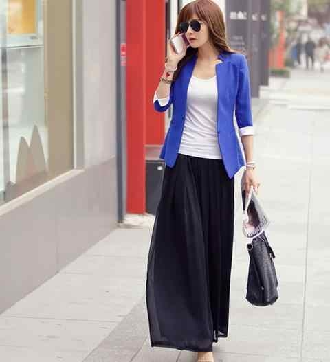 2020 קיץ נשים גבוהה מותן רחב רגל רחבים שיפון מכנסיים אתני חוף צד פיצול מכנסיים גבירותיי משרד עבודת Palazzo מכנסיים d940