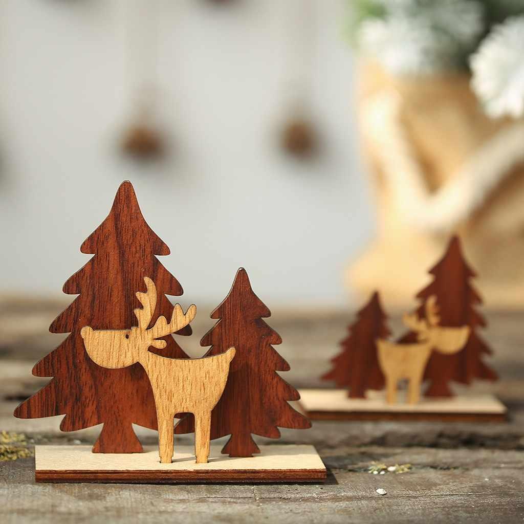 Decoraciones navideñas de madera Mini árbol de Navidad ciervos adornos de escritorio Feliz Navidad Fiesta decoración del hogar