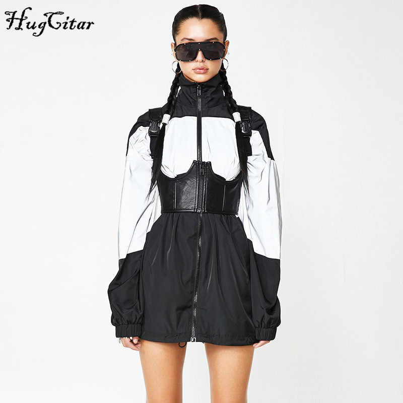 Hugcitar 2019 reflective patchwork long sleeve coat autumn winter women windbreaker streetwear baggy outfits jacket