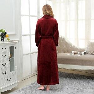 Image 2 - Women Extra Long Soft as Silk Flannel Bath Robe Femme Winter Warm Bathrobe Bride Kimono Dressing Gown Bridesmaid Robes Wedding