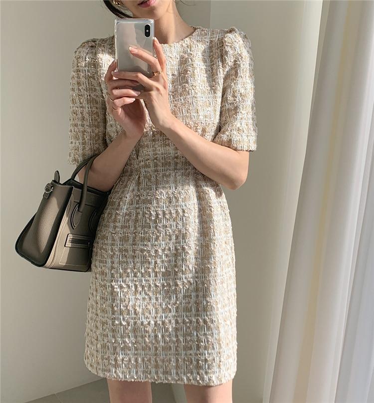 High Waist Casual Puff Sleeve Plaid Elegant Vintage Mini Dress 6