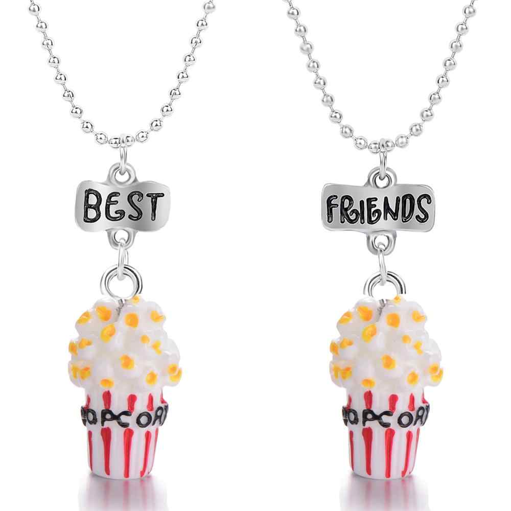 Lovely Imitation Food Popcorn Resin Pendants Necklace Lettering Best Friend Alloy Bead Chain Necklace For Friend's Gift