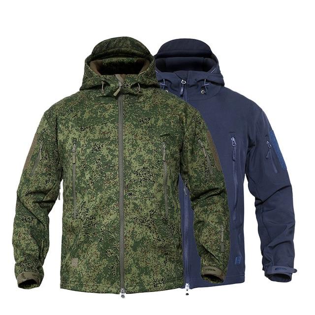 MEGE Men's Military Camouflage Fleece Tactical Jacket Men Waterproof  Softshell Windbreaker Winter Army Hooded Coat Hunt Clothes 1