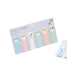 1pack/lot Kawaii Stationery Fat Cat Strip Sticker Notepad Post It Sticky Notes School Office Suppiles