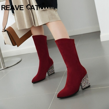 REAVE CAT 2020 Women Winter Fashion Boots Mid-calf High Pointed Toe Square Heels Bling Design Large Size 34-43 Black Red Grey