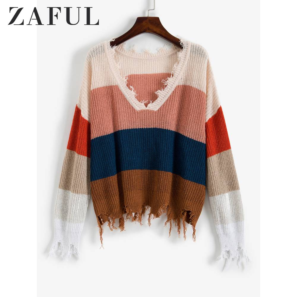 ZAFUL Colorblock Ripped Sweater V-Neck Full Sleeves Loose Casual Pullovers Daily Outdoor For Young Girls Women Autumn 2019