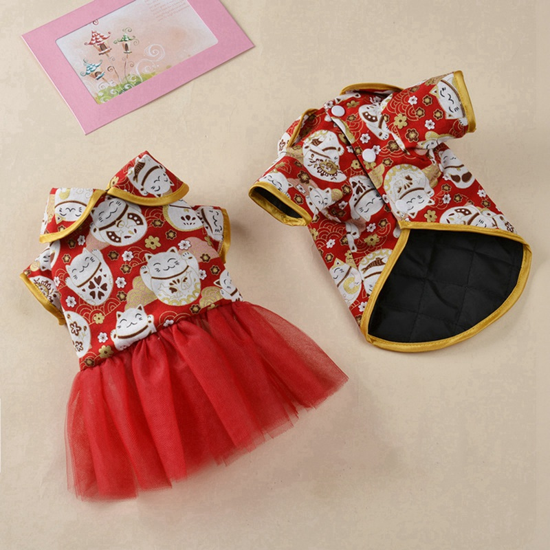 Chinese Style Pet <font><b>Dog</b></font> Clothes Pet Costume For Small Medium Large <font><b>Dogs</b></font> New Year Decorative <font><b>Dress</b></font> Pets <font><b>Dog</b></font> Puppy <font><b>Dress</b></font> image
