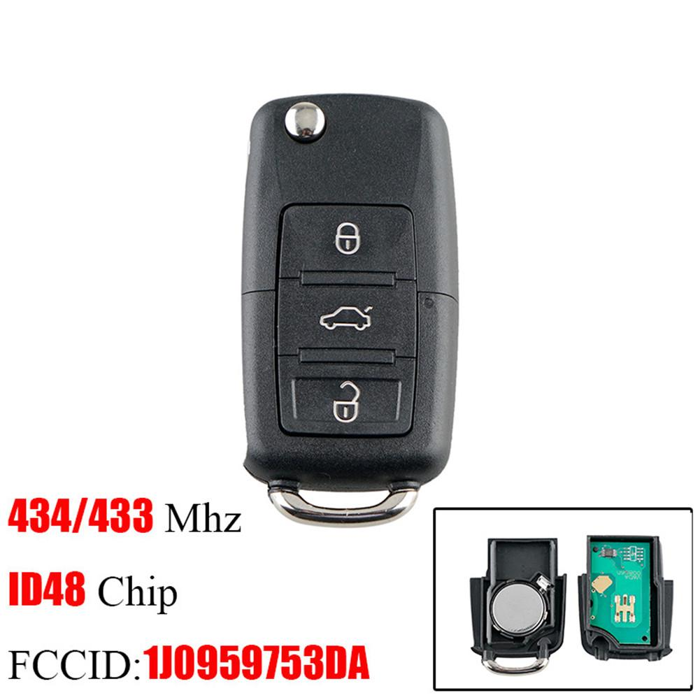 Fob Polo Seat 434mhz VW Skoda 3-Buttons ID48 Car-Key Flip PASSAT Remote Smart Volkswagen title=