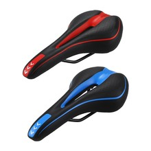 LIETU 2 Pcs Road Mountain MTB Gel Comfort Saddle Bike Bicycle Cycling Seat Cushion Pad, Blue & Red(China)