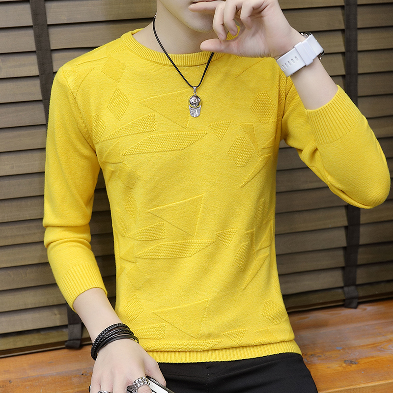 Sweater Men Long Sleeve Casual O-Neck Mens Pullover Male Coat Solid Color Man Sweaters Pull Clothes Homme New Autumn Brand C243