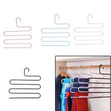 S-тип 5 слоев вешалка для брюк, Волшебная вешалка для брюк шкаф одежда крючок для склада стойка для джинсов брюки шарф галстук полотенца белый 1 шт