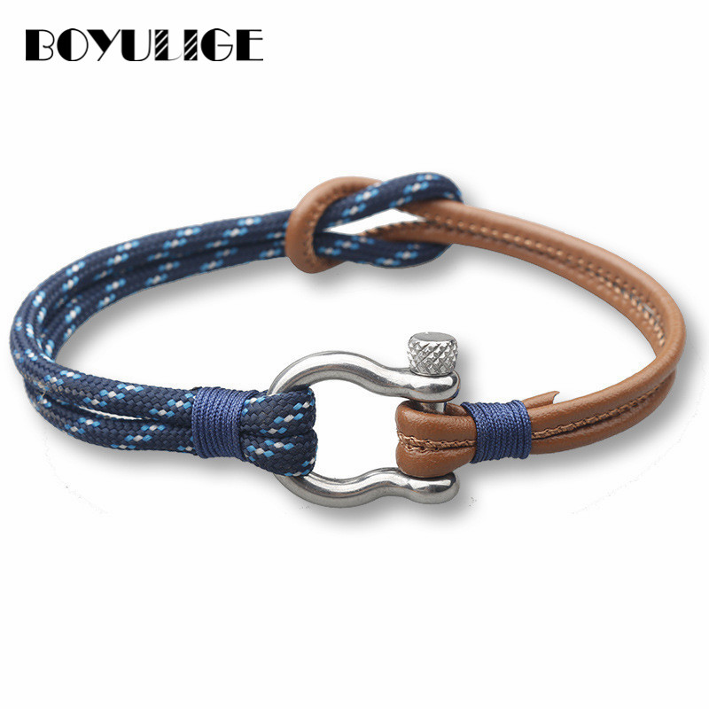 Trend Genuine Leather Charm Rope Bracelet Metal Geometric Men Outdoor Wristband Bracelets For Women Cowhide Braided New Fashion