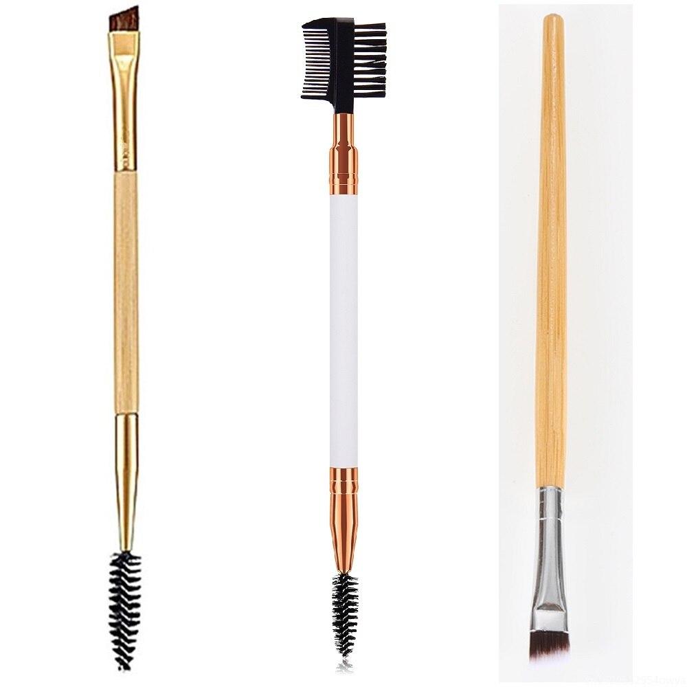 Двухсторонняя кисть для бровей с деревянной ручкой, кисти для красоты, кисти для макияжа, расческа для бровей, Профессиональные кисти для макияжа, косметический инструмент|Аппликатор теней для век|   | АлиЭкспресс