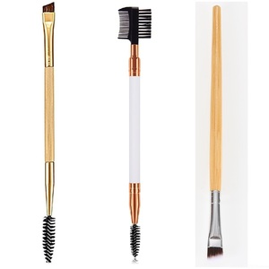 Double Ended Wood Handle Eyebrow Brush Beauty Makeup Brushes Eye Brow Comb Brushes Professional Make Up Beauty Cosmetics Tool(China)