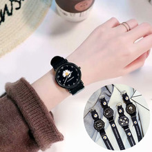 Ladies Daisy small nylon watchband men quartz watch South Korea simple joker lovers watch simple watch for Student and couple casio watch small black watch student quartz men and women watch mq 24 7b3