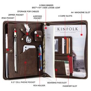 Image 4 - עור אמיתי תיקיית B5 קלסר Padfolio תיק רוכסן כתיבת מסמכים ופנקס מקרה עבור iPad פרו 10.5 10.2 11 אוויר 2