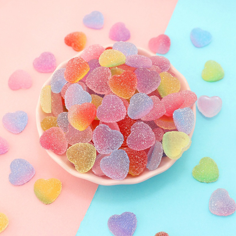 Happy Monkey New Resin Hearts Candy Slime Additives Charms Kawaii Accessories DIY Kit Filler For Cloud Clear Crunchy Slime Clay