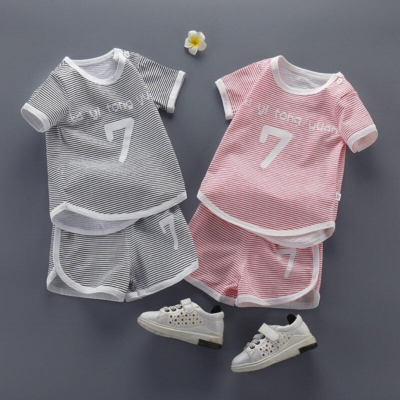 Летние Детские комплекты Изысканная одежда с короткими рукавами для малышей вечерние полосатые детские костюмы для малышей дешевые вещи|Комплекты одежды| | АлиЭкспресс