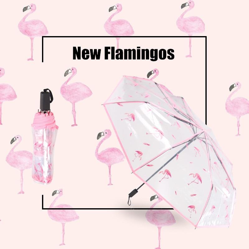 Flamingos Pattern With Plants Windproof Travel Umbrella Manual Tri-fold Umbrella