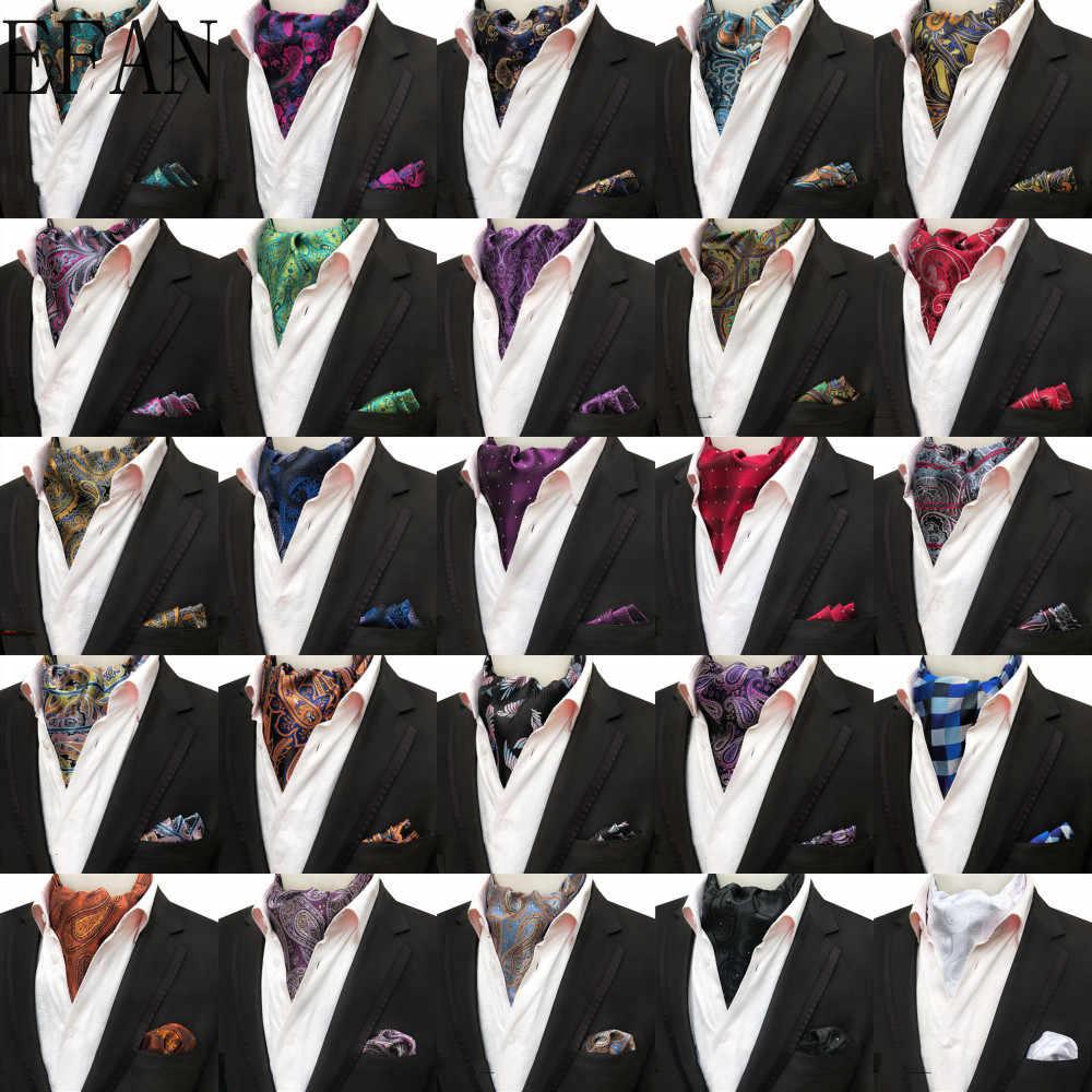 Men Fashion Paisley Flowers Cravat Ascot Necktie Wedding Party Pocket Square Set