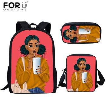 FORUDESIGNS Fashion Cartoon Cute Afro Girl Printing 3pcs School Bags Set for Teenager Kids Girls Student Mutifunctional Backpack