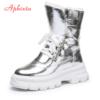Aphixta Winter Shoes Women Mid-calf Waterproof Snow Boots With Warm Plush Sequined cloth Footwear Platform Woman - discount item  49% OFF Women's Shoes