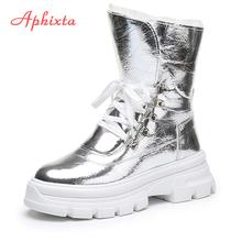 Aphixta buty zimowe damskie połowy łydki wodoodporne buty śnieżne z ciepłym pluszowym cekinowym materiałem obuwie buty na platformie kobieta tanie tanio CN (pochodzenie) Cekinami tkaniny ANKLE Platforma Stałe APH20BO83A1Xm Dla dorosłych Wysokość zwiększenie Buty śniegu