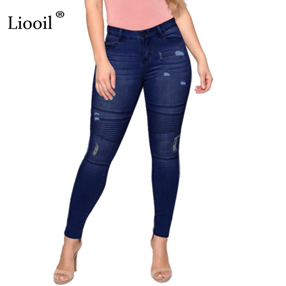 Liooil Blue Sexy Elastic Skinny Denim Ripped Jeans For Women Holes High Waist Pencil Pants Bottoms Wash Distressed Jean Trousers