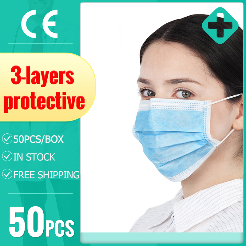 10/20/50PCS 3 Layers Disposable Protective Masks Face Mask Anti-Dust Dustproof Earloops Masks Disposable Send Fast