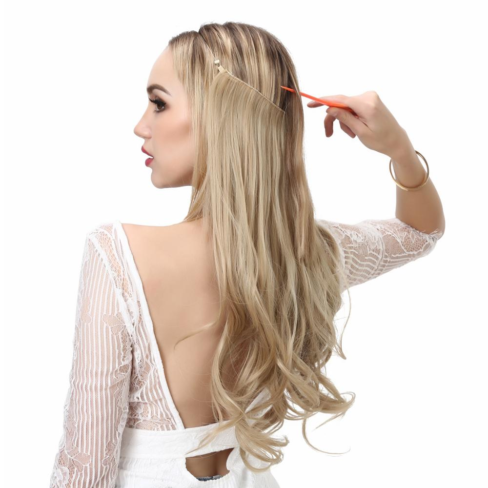 Hair-Extensions Halo Crown Wave Flip-Hidden-Secret-Wire Grey Pink Natural Ombre Invisible