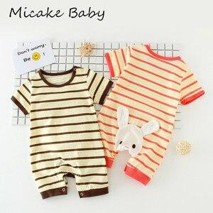 Летняя одежда для новорожденных девочек; Комбинезоны в полоску с короткими рукавами для новорожденных; Комбинезоны унисекс для детей; Пижа...