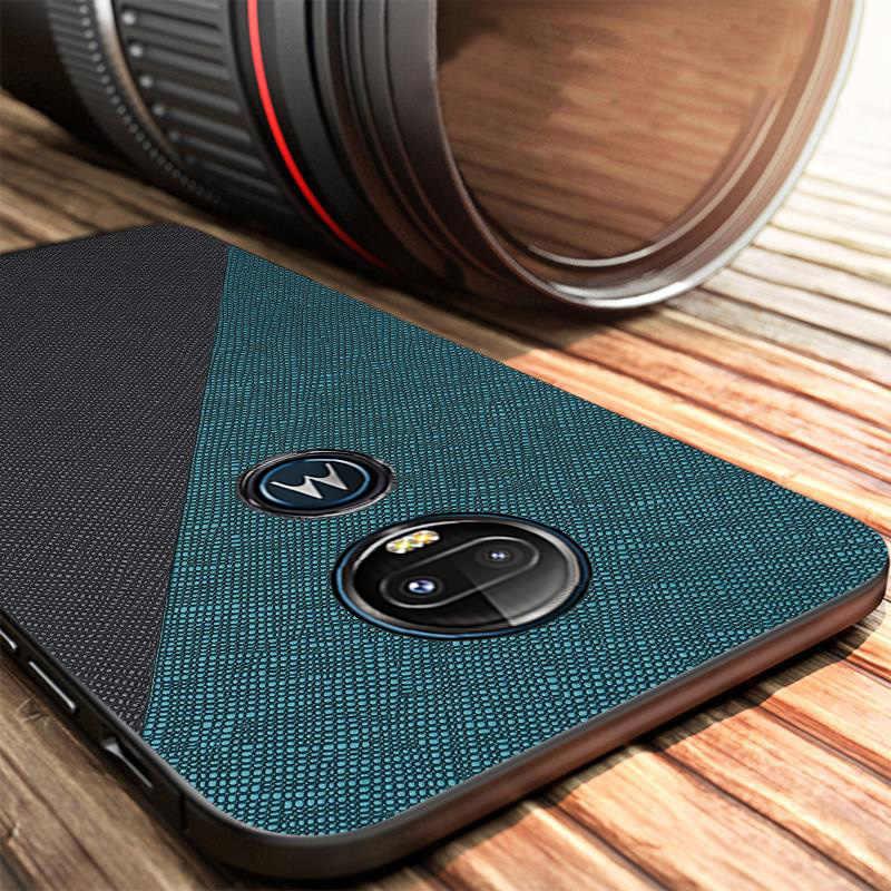 E6 artı ultra-ince silikon kılıf Moto G7 artı durumda bez doku deri arka kapak Moto G7 güç oyun E6 artı E5 kapak