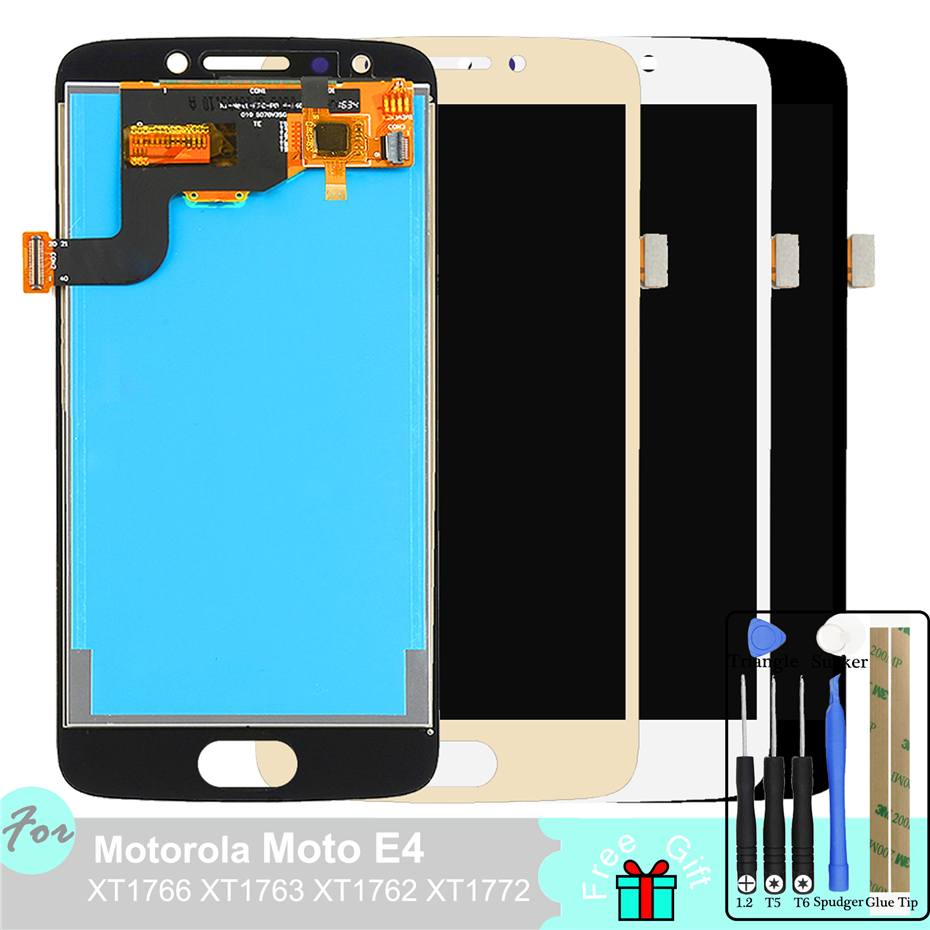 LCD <font><b>Display</b></font> For Motorola <font><b>Moto</b></font> <font><b>E4</b></font> XT1766 <font><b>XT1763</b></font> XT1762 XT1772 Touch Screen Digitizer Panel Replacement Parts Assembly image