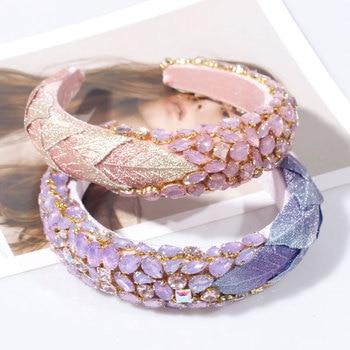 Luxury Crystal Pink Purple Rhinestone Headband  2