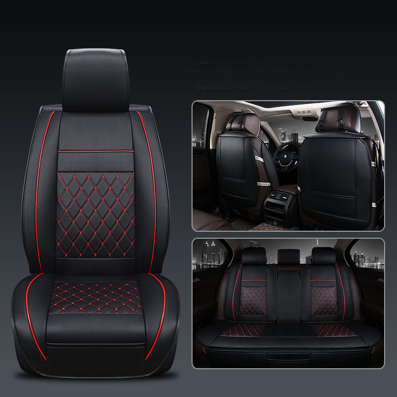 Leather Car Seat Cover Universal 5 Seats Waterproof Auto Front Rear Back Chair Seat Cushion for SUV Vehicle Car Seat Protector - 2
