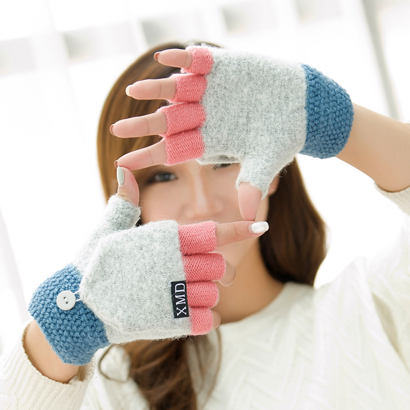 Winter Warm Thickening Wool Gloves Knitted Flip Fingerless Exposed Finger Thick Gloves Without Fingers Mittens