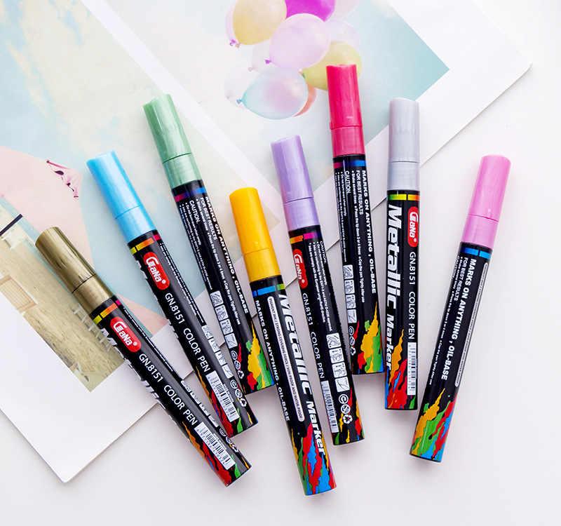 Gn 4 8 15 20pcs Set Metal Color Oil Based Paint Marker Pens 3 0mm Diy Black Card Ceramic Craftwork Pen Painting Art Supplies