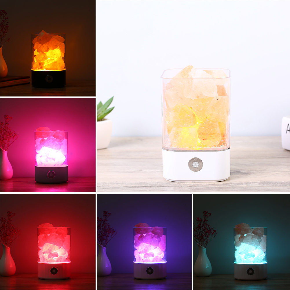 USB Crystal natural himalayan salt lamp led Lamp Air Purifier Mood Creator lava Night Light for Home Warm Table Bedroom Decor