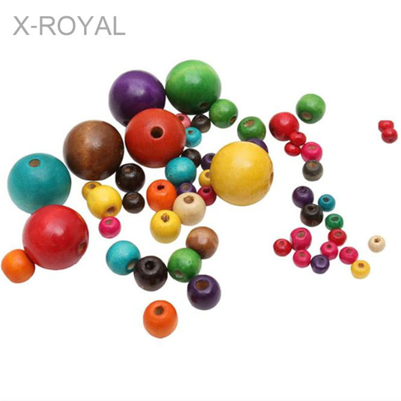 X-ROYAL 100Pcs/lot Korean Style Colorful Round Wooden Beads Handmade Wood Loose Beads DIY Jewelry Bracelets Bead Making Findings